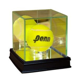 Premium Glass Tennis Ball Display Case w/ Wooden Base